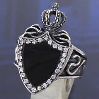 クラウン 王冠 シールド 盾 極上 オニキス ジルコニア シルバー925 シルバーアクセサリー メンズアクセサリー 男性用 シルバーリング プレゼントに人気 送料無料