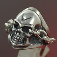 【sk008】メンズ シルバー925 リング 指輪  スカルリング ドクロ 髑髏 チェーン 骸骨 スカル シルバーリング 指輪 メンズアクセサリー 男性用 シルバーアクセサリー 大きいサイズ プレゼントに人気 送料無料