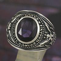 【st038】シルバー925 カレッジリング 指輪  アレキサンドライト シルバーリング メンズアクセサリー 指輪 男性用 男女兼用 シルバーアクセサリー プレゼントに大人気 送料無料