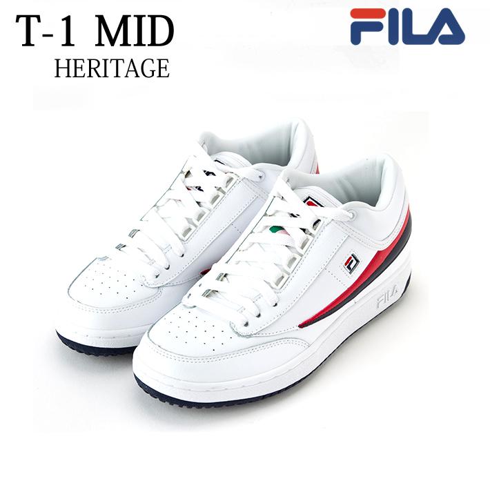 FILA(フィラ) MENS T-1 MID FHE159 [WHITE/FNVY/FRED][テニス][ミドルカット][カジュアル][ストリート]