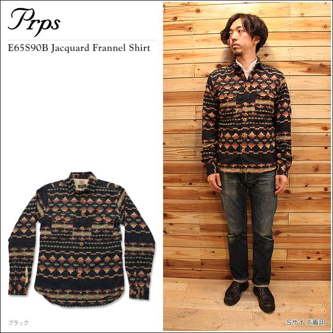 PRPS(ピーアールピーエス)E65S90B Jacquard Frannel Shirt