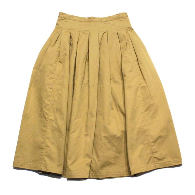 GRANDMA MAMA DAUGHTER(グランマ ママ ドーター)CHINO PLEATED LONG SKIRT GK001 BEIGE ベージュ スカート