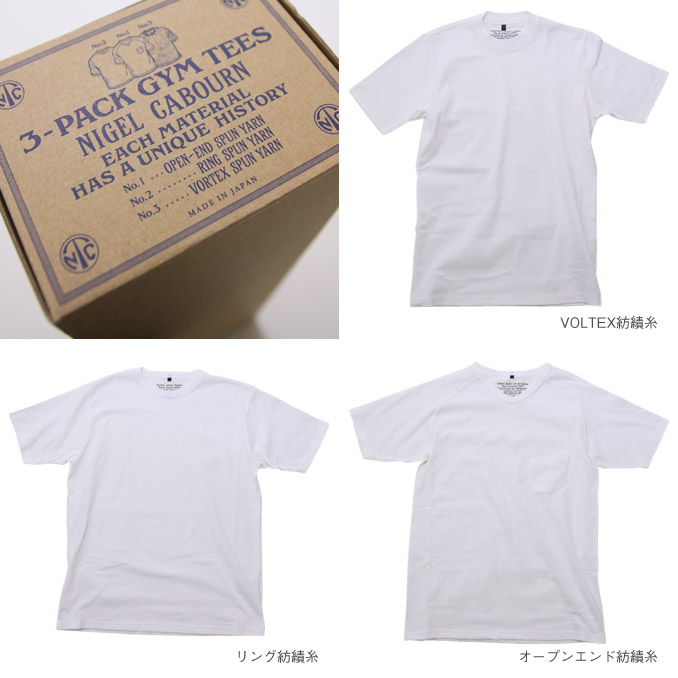Nigel Cabourn(奈杰尔K波恩)3-PACK GYM TEE White 3包健身房T恤