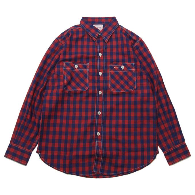 ボンクラ BONCOURA ネルワークシャツ インディゴ×赤チェック