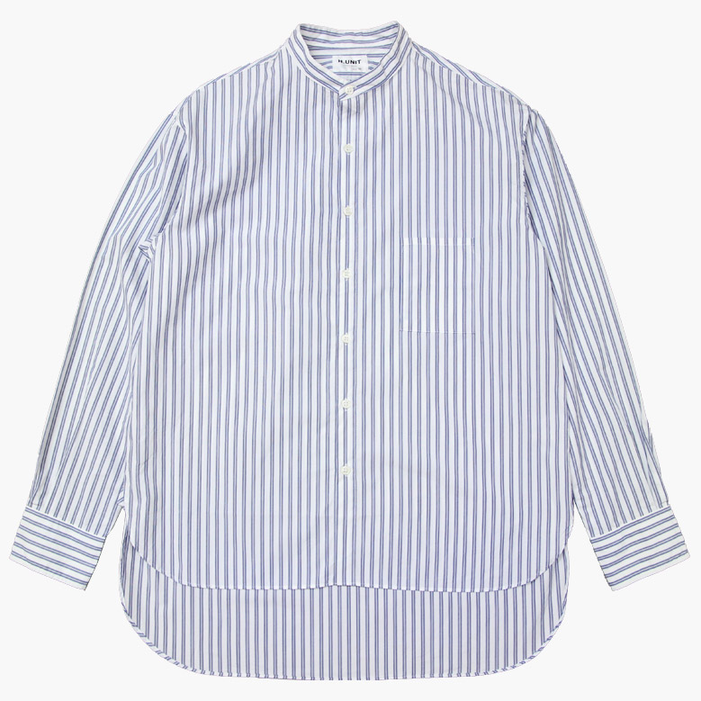 エイチユニット バンドカラーロングスリーブシャツ H.UNIT Bandcollar Long Sleeve Shirt White×Blue