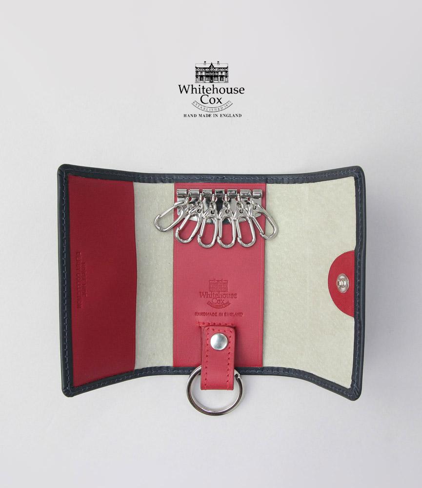 ホワイトハウスコックス キーケース ネイビー/レッド ダービーコレクション キーケースウィズリング WhitehouseCox S9692 KEYCASE WITH RING DERBY NAVY/RED