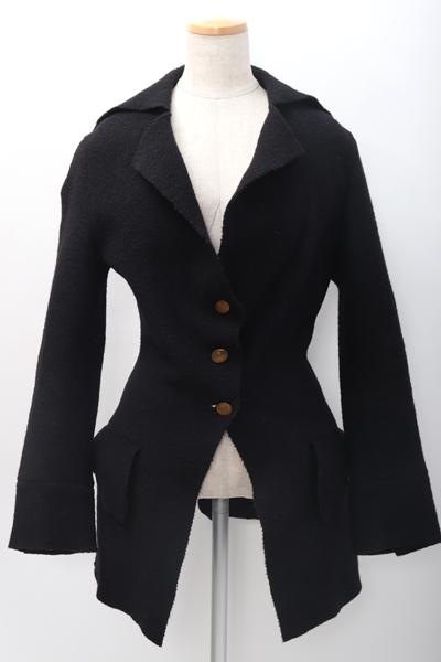 ヴィヴィアンウエストウッドVivienne Westwood イタリア製 圧縮ウールジャケット【LCTA59109】【ブラック】【42】【中古】【2点以上同時購入で送料無料】【DM200205】
