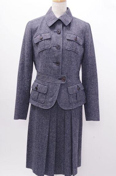 【2月23日に値下げ】BURBERRY LONDONバーバリーロンドン ツイード調セットアップ スカートスーツ【LSTA45618】【ネイビー】【上38下38】【中古】【2点以上同時購入で送料無料】【DM171125】