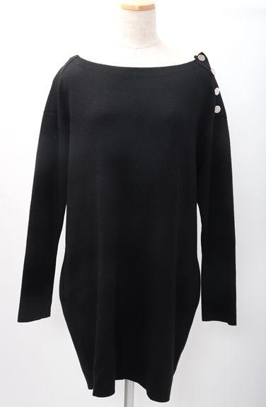 【2月23日に値下げ】Drawerドゥロワー ミラノリブ肩ボタンニットワンピース【XOPA52423】【ブラック】【2】【中古】【2点以上同時購入で送料無料】【DM181215】
