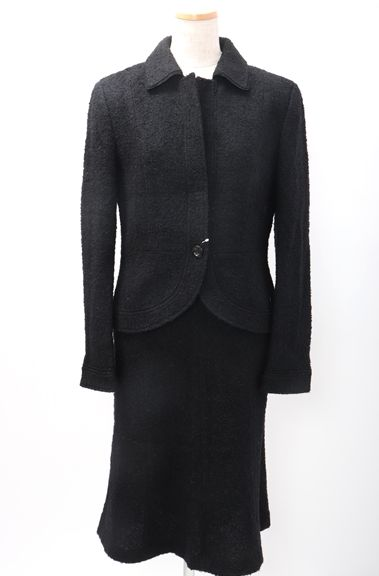【2月23日に値下げ】23区ニジュウサンク ツイードスカートスーツ セットアップ【LSTA50131】【ブラック】【上40下38】【中古】【2点以上同時購入で送料無料】【DM180912】
