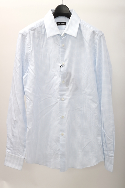 ラフシモンズRAF SIMONS Ron Hermanロンハーマン購入New classic shirtチェック柄ニュークラシックシャツ新品【MSHA61232】【白青】【46】【未使用】【2点以上同時購入で送料無料】【DM200927】