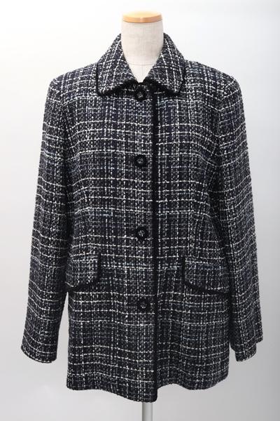 BURBERRY LONDONバーバリーロンドン 羊毛ファンシーツイードチェック ハーフコートジャケット【LCTA59854】【ネイビー系】【11】【中古】【2点以上同時購入で送料無料】【DM200415】