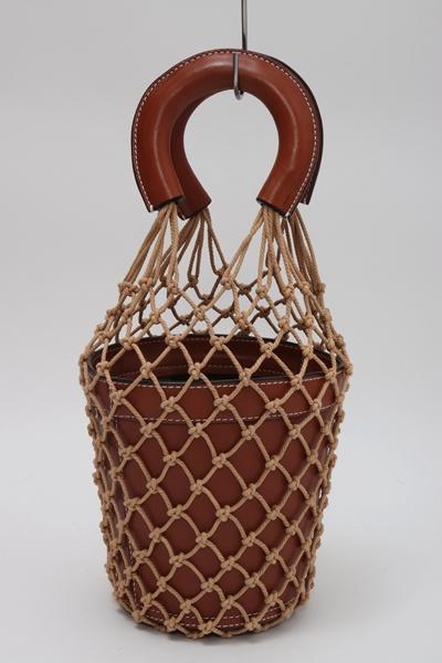 【8月29日に値下げ】STAUDスタウド L'Appartementアパルトモン購入2018SS mesh leather bagメッシュレザーバッグ【LBGA57755】【キャメル】【フリー】【中古】【2点以上同時購入で送料無料】【DM200610】