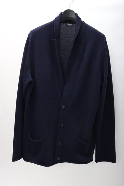 【12月28日に値下げ】Drumohrドルモア 羊毛ニットジャケット カーディガン【MKNA54567】【ネイビー】【52】【中古】【2点以上同時購入で送料無料】【DM190302】