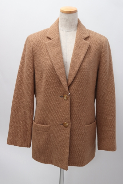 【2月1日に値下げ】BURBERRY LONDONバーバリーロンドン 羊毛アンゴラカシミヤ混ジャガードジャケット【LJKA53083】【キャメルベージュ】【40】【中古】【2点以上同時購入で送料無料】【DM190116】