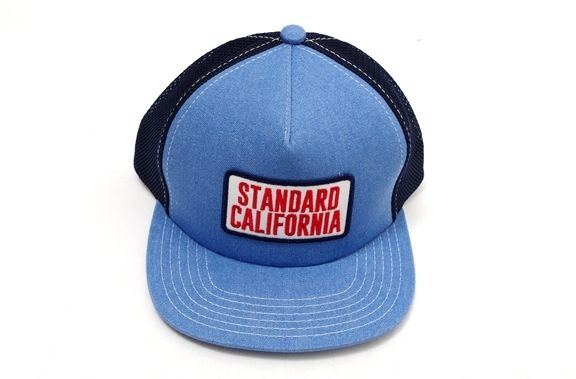 【5月2日に値下げ】スタンダードカリフォルニアSTANDARD CALIFORNIA 別注ロゴ ワッペン デニム メッシュキャップ新品【MHWA33784】【ライトインディゴ】【-】【未使用】【2点以上同時購入で送料無料】【DM190212】