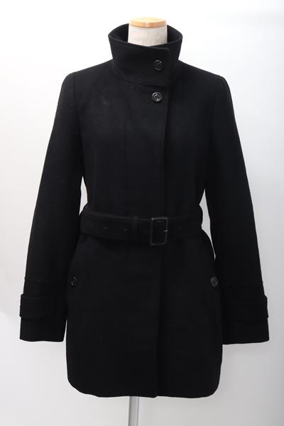 【2月1日に値下げ】BURBERRY LONDONバーバリーロンド ベルト付きスタンドカラーアンゴラ羊毛コート【LCTA58293】【ブラック】【38】【中古】【2点以上同時購入で送料無料】【DM191127】