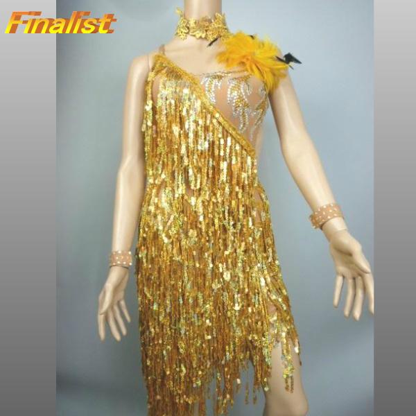 社交ダンスドレス 送料無料 ラテンドレス ゴールドフリンジ 品質保証,お買い得