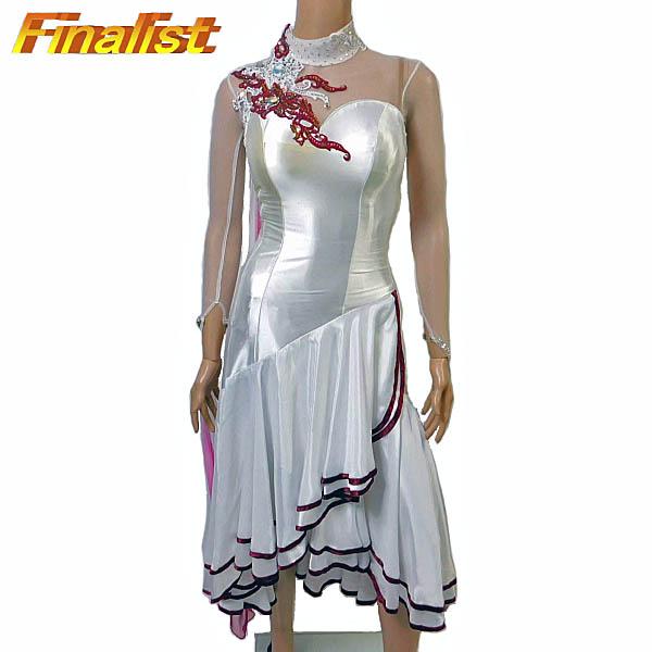 社交ダンス スタンダードドレス 送料無料 新品 アトリエヒロコ製 白