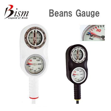 Bism ビーイズム Beans GAUGE ビーンズゲージ コンパクトスタンダードゲージ 残圧計 コンパス ダイビング 重器材 GB2121K/W 【送料無料】
