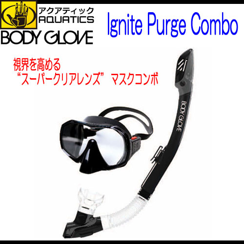 BODY GLOVE AQUATICS身体手套Ignite Purge Combo水中口罩&通气管安排水不在的理智的雪Kel