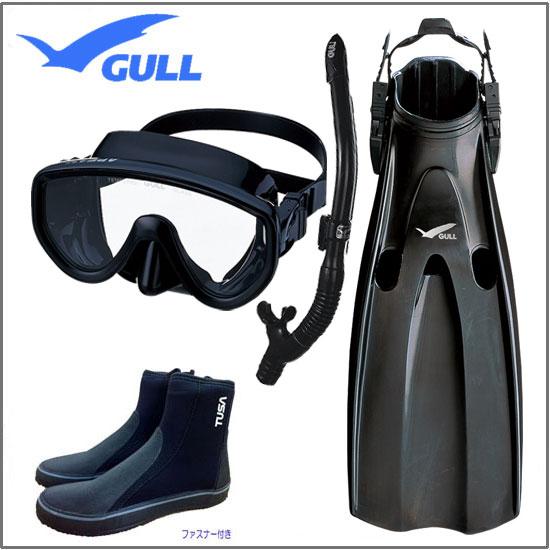 GULL 軽器材4点セット アビーム マスク カナールレイラドライ スノーケル マンティス フィン ブーツ TUSA DB3014 【送料無料】 1眼オススメセット ベーシックなSET