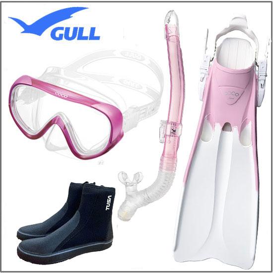 GULL<ガル> 軽器材4点セット COCO ココマスク レイラドライ スノーケル COCO ココフィン & ブーツ DB3014  【送料無料】 レディース セット GM-1231 GM-1232 UVレンズ 初心者・女性向け 安心の日本製
