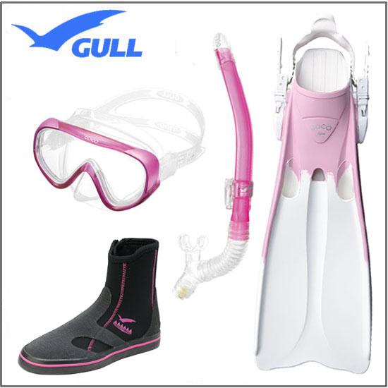 限定カラー GULL GSブーツ☆ ダイビング軽器材セット 4点 COCO ココマスク レイラドライ スノーケル COCO ココフィン & GS ブーツ 女性用【送料無料】UVレンズ 紫外線対策 GM-1231 GM-1232 メーカー在庫確認します