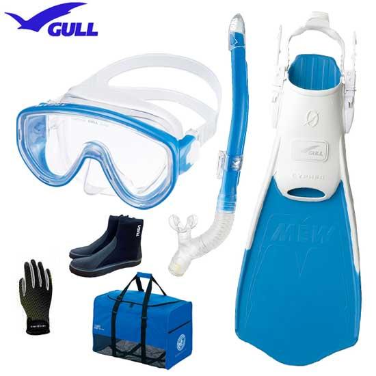 ■2019 GULL(ガル) ダイビング 軽器材6点セット アビームマスク カナールドライSPスノーケル ミューサイファー フィン マリングローブ メッシュバッグ ブーツ DB3014 【送料無料】軽器材セット