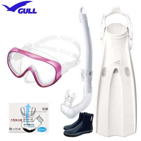 2020 GULL ガル 軽器材4点セット COCO ココマスク レイラステイブル スノーケル マンティスフィン ブーツ 【送料無料】 レディースセット GM-1270 UVレンズ 紫外線対策