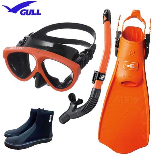 2020 GULL ガル ダイビング 軽器材 セット 4点 ミュー サイファー フィン マンティス5 マスク カナールドライSP スノーケル レイラドライSP & ブーツ 【送料無料】男性 女性