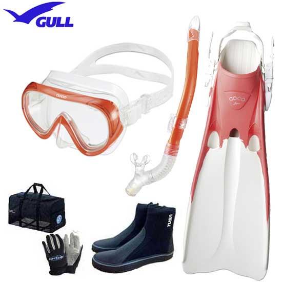 2020 GULL(ガル) ダイビング 軽器材6点セット COCO ココマスク レイラ ドライ スノーケル COCO ココフィン&マリン グローブ メッシュバッグ & ブーツ 【送料無料】安心の日本製 ランキング入賞 人気継続
