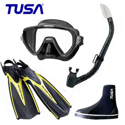 *TUSA* 軽器材4点セット M-19マスク&TUSAスノーケル SF0102フィン DB-3014 ブーツ ダイビング 軽器材 ランキング人気商品 スキューバダイビング送料無料