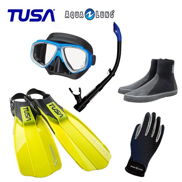 軽器材5点セット TUSA M-7500 マスク ヴァリオスノーケル DB3014 ブーツ SF5500 SF5000 フィン マリングローブ 軽器材セット