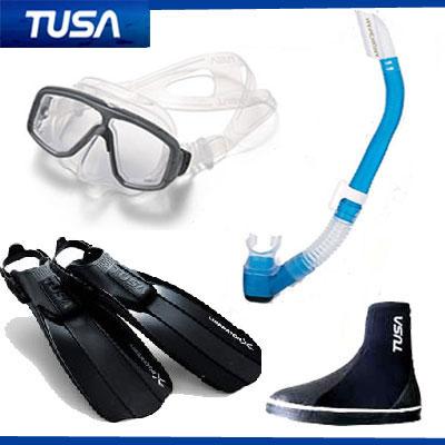 *TUSA* 軽器材4点セット M-20マスク&スノーケル SF5000/SF5500フィン DB-3014 ブーツ ダイビング 軽器材 シュノーケリング送料無料