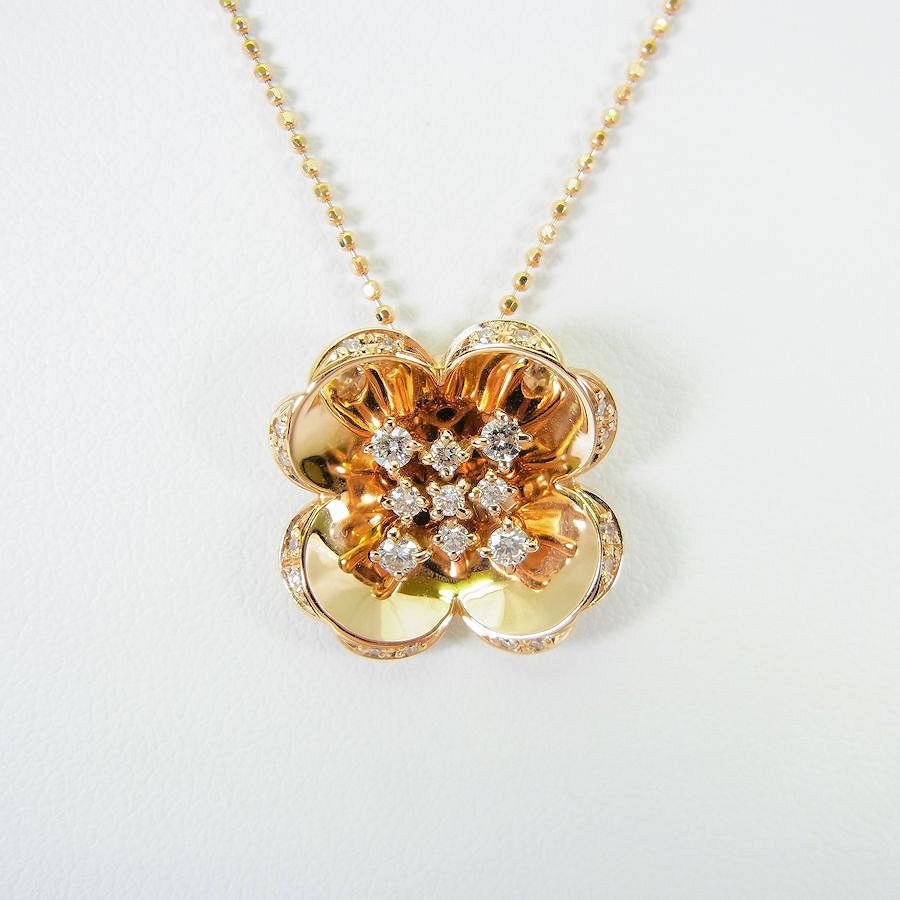 【中古】K18PG ダイヤモンド フラワーモチーフ ペンダント ネックレス[y1-5]