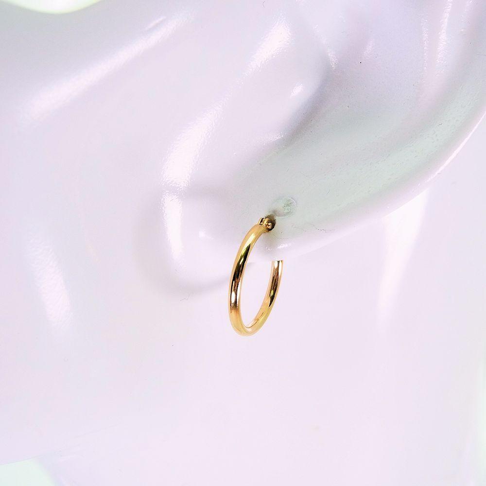 【新品】K18 フープ ピアス 15mm[f69-9]