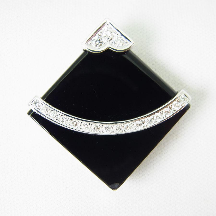 【中古】TASAKI/タサキ K18WG オニキス ダイヤモンド ブローチ ペンダントトップ [y1-9]