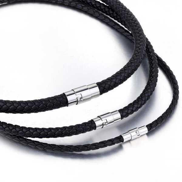 全国一律送料無料 日本最大級の品揃え 海外オリジナルの逸品をお届け 送料無料 ネックレス 激安超特価 メンズ 黒 ブラック レザー ステンレス ロープチェーン メッシュ ロープ 大人 チョーカー ごつい ジュエリー かっこいい チェーン