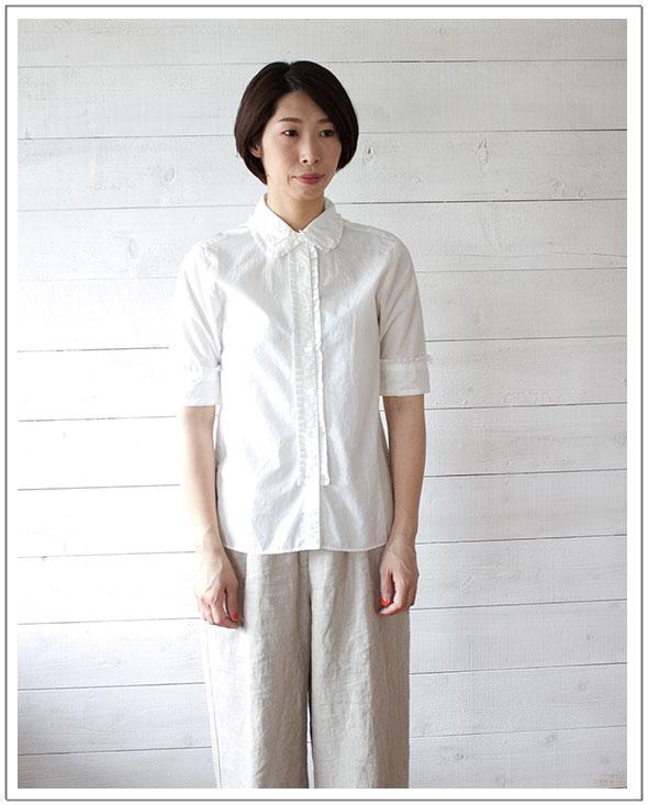 TIGRE BROCANTE(ティグルブロカンテ)Tuck Frill S/S Shirtタックフリル半袖シャツ