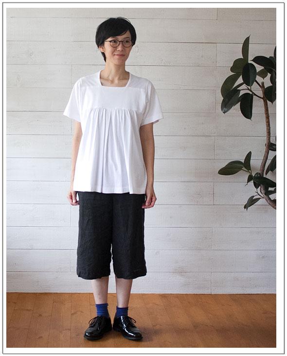 homspun(ホームスパン)フロントギャザー半袖Tシャツ