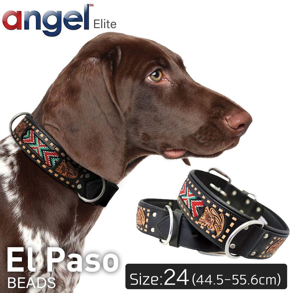 【Angel】El Paso 24インチ 首輪 犬 アルゼンチン産 牛革 本革 真鍮 大型 中型 高級 手彫り ビーズ 錆びにくい