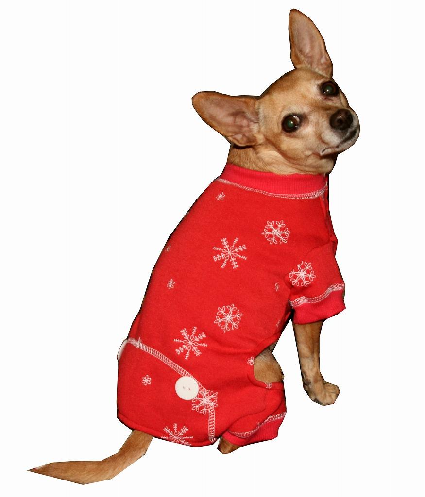 【HIP DOGGIE】Red Snowflake Longjohns XS-M 犬 服 小型 子犬 中型 おしゃれ かわいい 防寒 暖かい フリース クリスマス 雪柄 秋 冬 10FSP