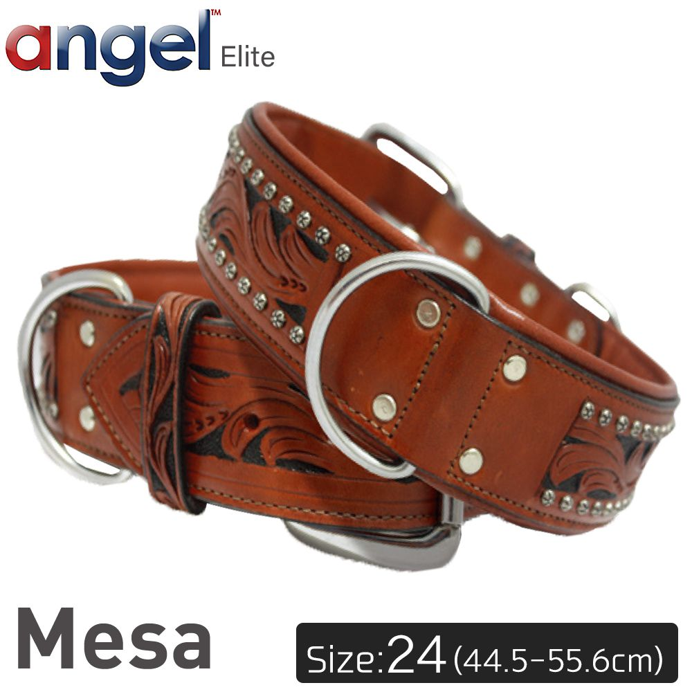 【Angel】エンジェル Mesa 24インチ 首輪 犬 アルゼンチン産 牛革 本革 真鍮 大型 中型 高級 手彫り 錆びにくい