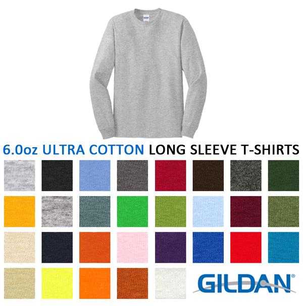 ロングスリーブTシャツ【カラー1】 GILDAN(ギルダン)6.0oz 【ウルトラコットン】(無地ロンT・長袖・アダルトサイズ・メンズ)