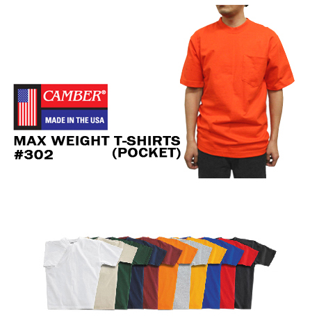 CAMBER(キャンバー)【ポケット付】マックスウェイトTシャツ(胸ポケ付き/8オンス厚手 無地・メンズ)(T0302)【0628】