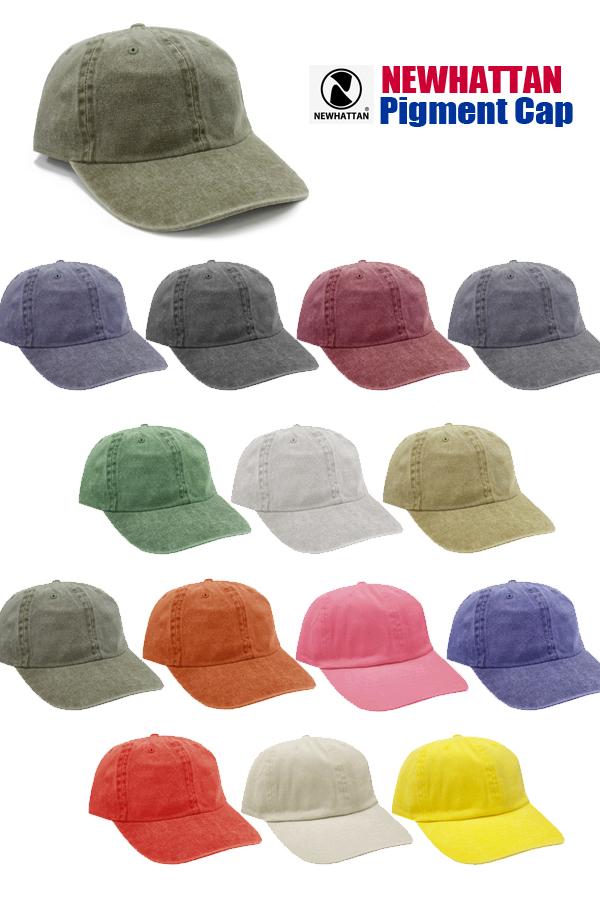 ピグメントキャップ【ニューハッタンNEWHATTAN】COTTON PIGMENT CAP【NWHT-H1200】(ウォッシュ加工・男女兼用・紫外線防止)【2017aw】【0828】