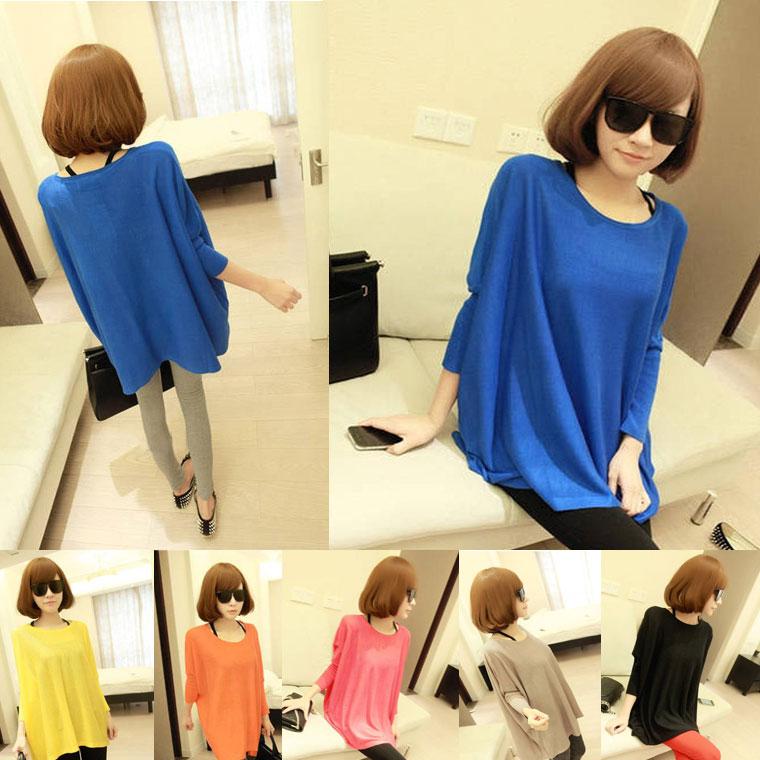 ff8e19bd335 ... Womens tops t-shirts 7-sleeve Dolman loose arm cover kalabari colorful long  tunic ...