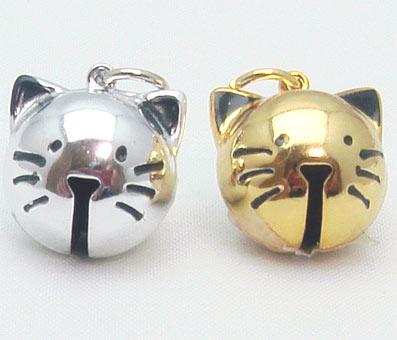 2020モデル 猫の鈴 驚きの価格が実現 ネコ鈴 ネコの顔鈴 仔猫鈴 猫 鈴 首輪 ゴールド キーホルダー 可愛い猫の鈴 シルバー