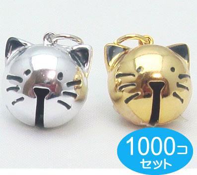 1000個セット ネコ鈴 ネコの顔鈴 仔猫鈴 シルバー ゴールド